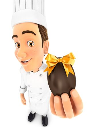 3d head chef holding easter egg, illustration with isolated white background