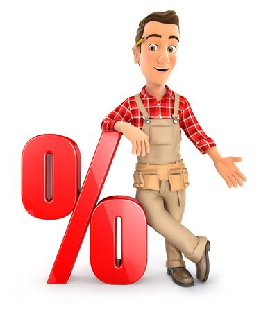 3d handyman leaning against percent sign, illustration with isolated white background