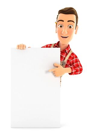 3d handyman pointing to vertical board, illustration with isolated white background