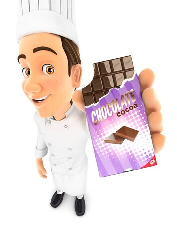 3d head chef holding chocolate bar, illustration with isolated white background