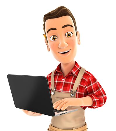 3d handyman standing and holding laptop, illustration with isolated white background