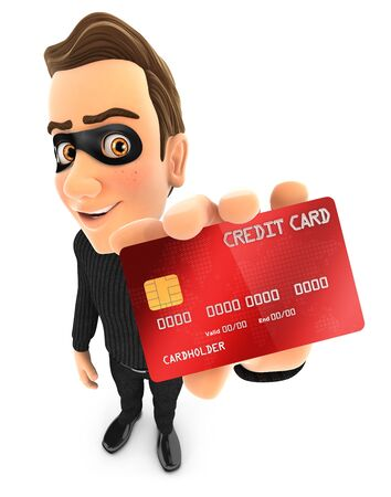 3d thief holding credit card illustration, illustration with isolated white background