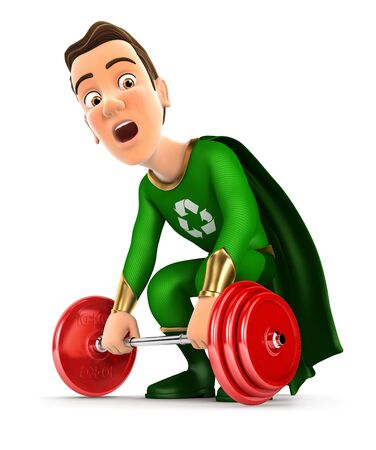 3d green hero trying to lift heavy weight, illustration with isolated white background