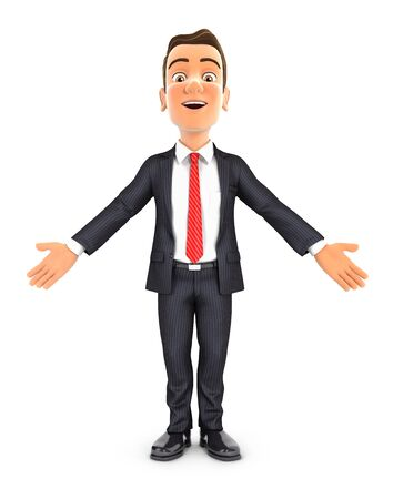3d businessman standing with open arms, illustration with isolated white background Zdjęcie Seryjne
