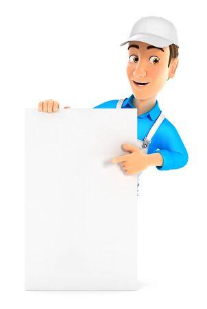 3d painter pointing to vertical board, illustration with isolated white background