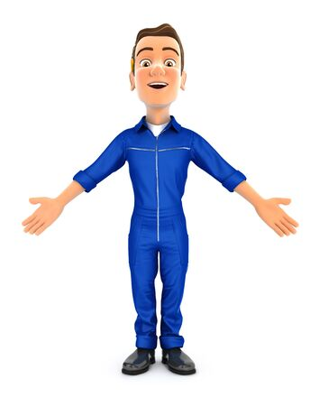 3d mechanic standing with open arms, illustration with isolated white background