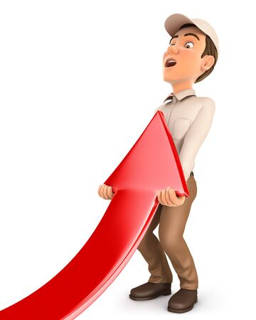 3d delivery man lifting up red arrow, illustration with isolated white background
