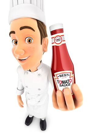 3d head chef holding tomato sauce bottle, illustration with isolated white background