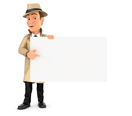 3d detective pointing empty board, illustration with isolated white background