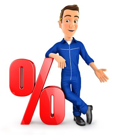 3d mechanic leaning against percent sign, illustration with isolated white background