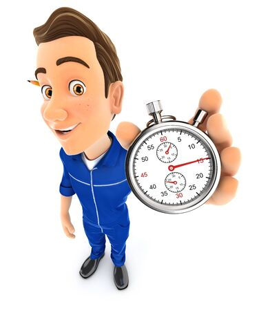 3d mechanic holding a stopwatch, illustration with isolated white background