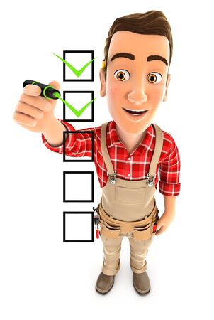 3d handyman checklist, illustration with isolated white background