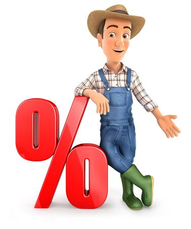 3d farmer leaning against percent sign, illustration with isolated white background
