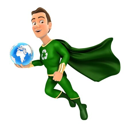 3d green hero flying and holding blue earth, illustration with isolated white background
