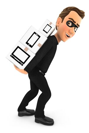 3d thief carrying stack of cardboard boxes on his back, illustration with isolated white background Archivio Fotografico