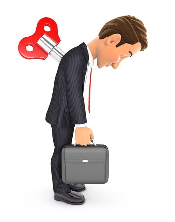 3d businessman with wind up key in his back, illustration with isolated white background Zdjęcie Seryjne