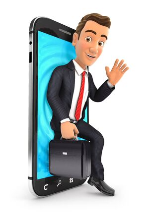 3d businessman coming out of smartphone, illustration with isolated white background