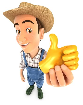 3d farmer holding golden thumb up icon, illustration with isolated white background Фото со стока