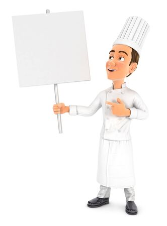 3d head chef holding blank sign board, illustration with isolated white background