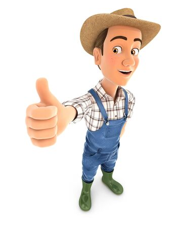 3d farmer standing with thumb up, illustration with isolated white background Foto de archivo