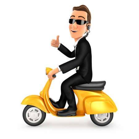 3d security agent riding scooter with thumb up, illustration with isolated white background