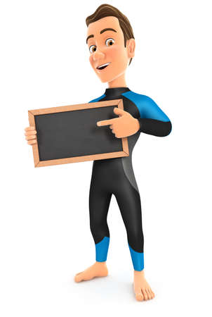 3d surfer standing with slate chalkboard, illustration with isolated white background Stock Photo