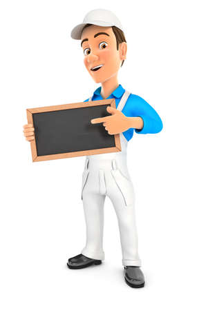 3d painter standing with slate chalkboard, illustration with isolated white background