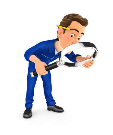 3d mechanic looking floor with magnifying glass, illustration with isolated white background