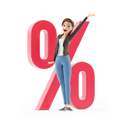3d happy cartoon woman in front of percent sign, illustration isolated on white background