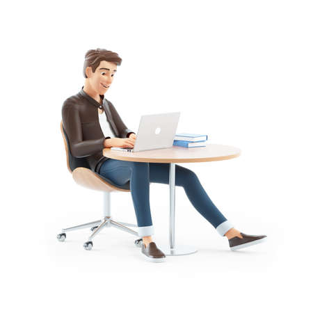 3d cartoon man working on laptop, illustration isolated on white background Banque d'images