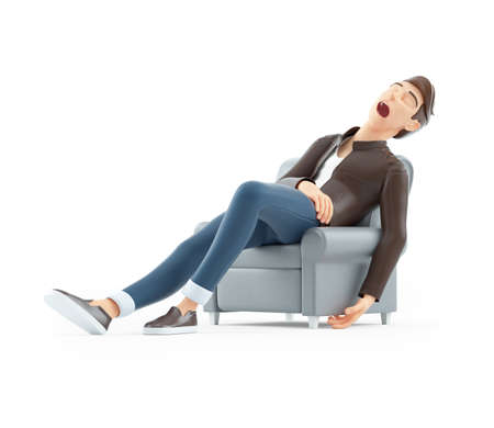 3d cartoon man sleeping in armchair, illustration isolated on white background
