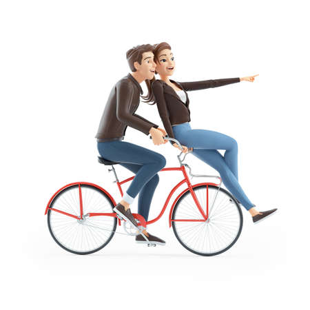 3d cartoon man and woman riding on bike together, illustration isolated on white background