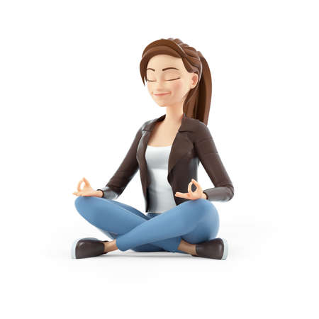 3d cartoon woman sitting in lotus position, illustration isolated on white background