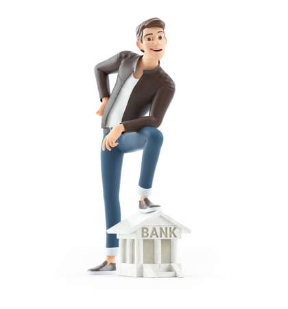 3d cartoon man foot on bank building icon, illustration isolated on white background