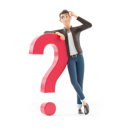 3d cartoon man leaning against question mark, illustration isolated on white background