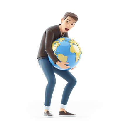 3d cartoon man lifting heavy earth, illustration isolated on white background