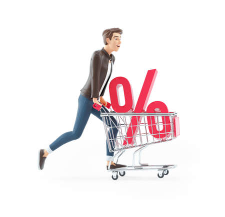 3d cartoon man pushing shopping cart with percent sign, illustration isolated on white background Banque d'images