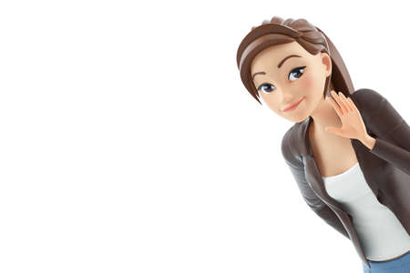 3d portrait cartoon woman saying hello, illustration isolated on white background
