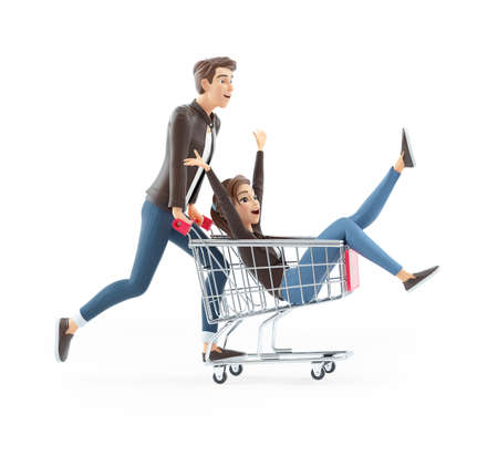 3d cartoon man pushing woman inside shopping cart, illustration isolated on white background