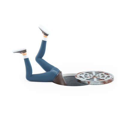 3d cartoon man inside a manhole, illustration isolated on white background Banque d'images
