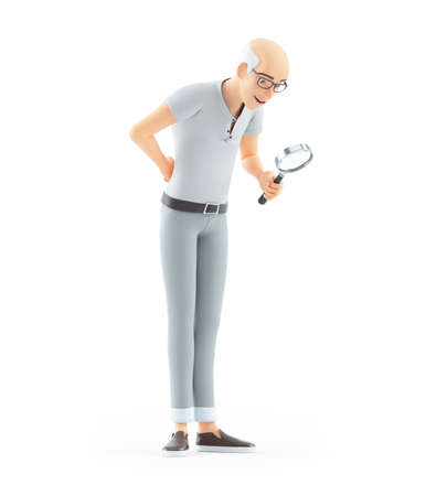 3d senior man looking through magnifying glass, illustration isolated on white background