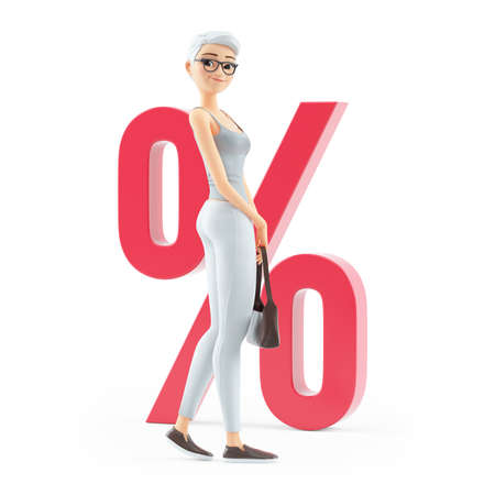 3d senior woman in front of percent sign, illustration isolated on white background