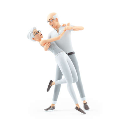 3d senior man dancing with woman, illustration isolated on white background