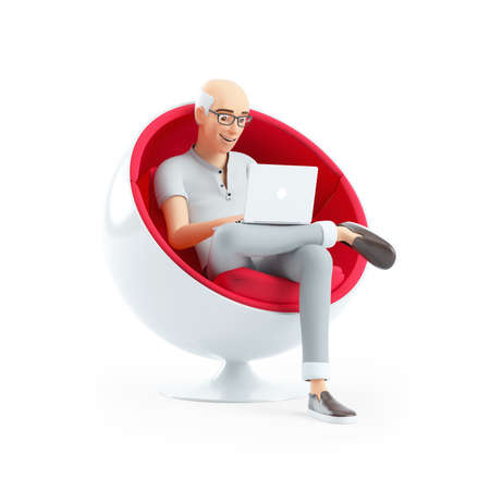 3d senior man sitting in spherical chair with laptop, illustration isolated on white background