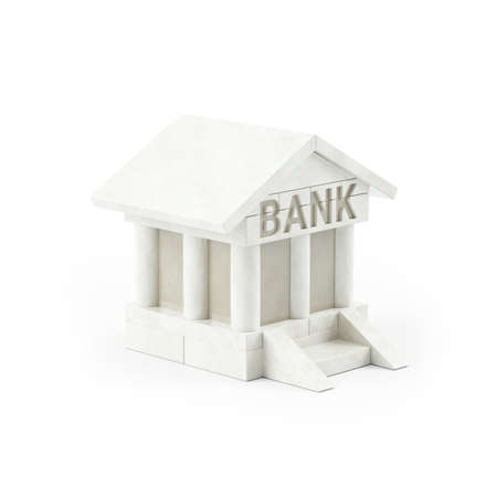 3d illustration of bank building icon, illustration isolated on white background