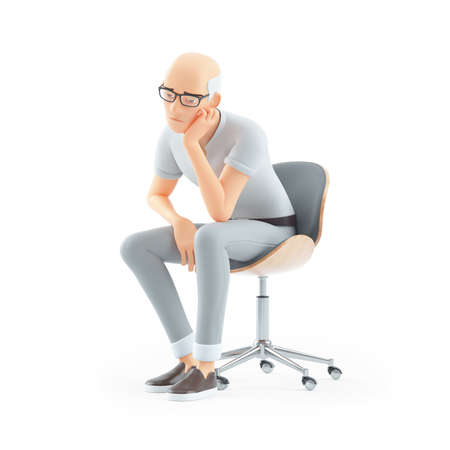 3d bored senior man sitting on chair, illustration isolated on white background Banque d'images