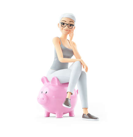 3d senior woman sitting on piggy bank, illustration isolated on white background