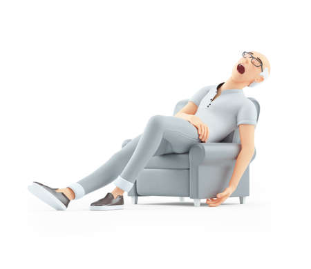 3d senior man sleeping in armchair, illustration isolated on white background Banque d'images