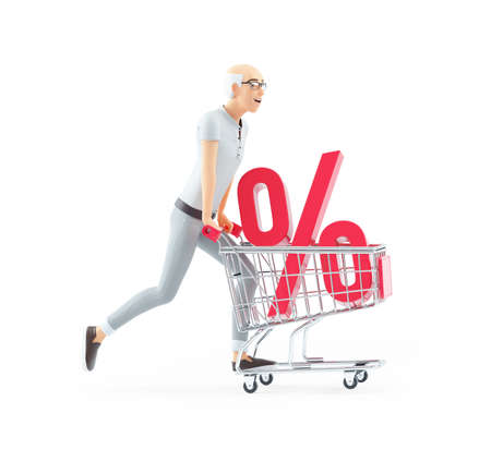 3d senior man pushing shopping cart with percent sign, illustration isolated on white background Banque d'images