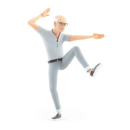 3d senior man karate pose, illustration isolated on white background Banque d'images